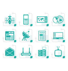 Stylized communication and business icons vector