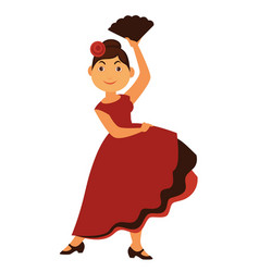 female flamenco dancer in long dress with rose in vector image vector image