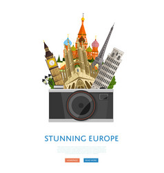 stunning europe poster with famous attractions vector image