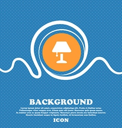 Table lamp icon sign blue and white abstract vector