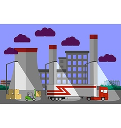 Truck and forklift loader near factory vector image