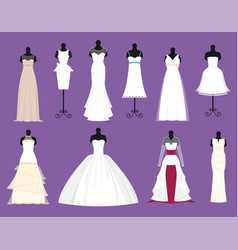 wedding bride white dresses set bride vector image vector image