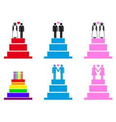 wedding cakes with couples set vector image