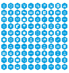 100 working hours icons set blue vector