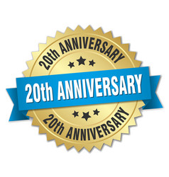 20th anniversary round isolated gold badge vector