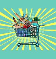 A grocery cart full purchases vector