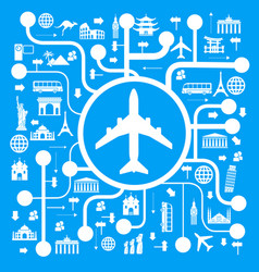 a set of elements for travel and vacations vector image