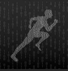 Abstract silhouette running man from binary vector