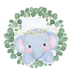 Adorable baby elephant vector