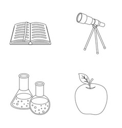 An open book with a bookmark a telescope flasks vector