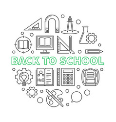 back to school round in thin vector image