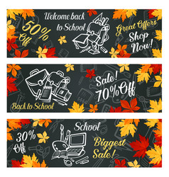 back to school sale promo banners vector image