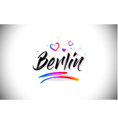 berlin welcome to word text with love hearts and vector image