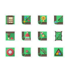 billiard equipment flat square icons set vector image