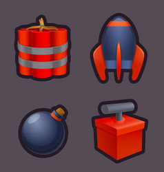 bomb icons and explosives set game icons vector image