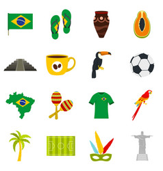 brazil travel symbols icons set in flat style vector image