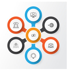 business management icons set collection of vector image