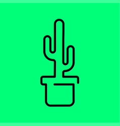 cactus plant in a pot icon line art vector image