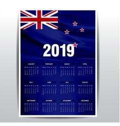 Calendar 2019 new zealand flag background english vector