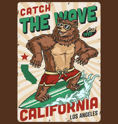 California surfing vintage colorful poster vector