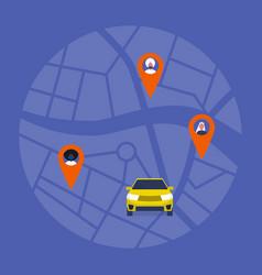 carpool map taxi service passengers sharing vector image