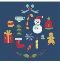 cartoon christmas elements set vector image