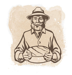 Cheese maker farmer cheese loaf vector