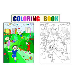 Children coloring color black and white game vector