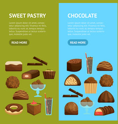 chocolate sweets banner vecrtical set vector image