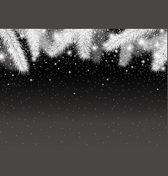 Christmas background of pine leaves and snow vector