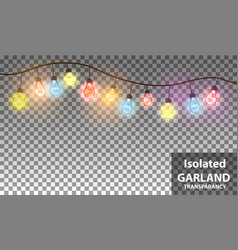 christmas garland with light lamp transparent vector image