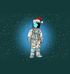 Christmas lone astronaut in the santa hat vector