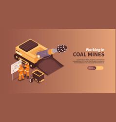 coal mines work banner vector image