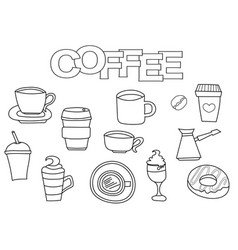 coffee elements hand drawn set vector image