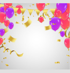 color helium purple and red balloon on white vector image