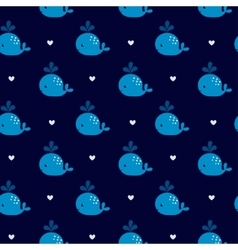 Cute blue whales on a dark background vector image vector image