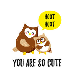 cute cartoon owls template for printing vector image