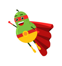 Cute cartoon smiling pear superhero in mask and vector