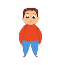 Cute overweight boy chubplump kid character vector