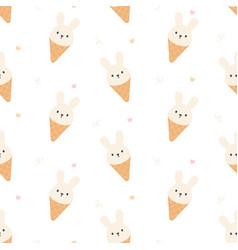 cute rabbit ice cream seamless pattern background vector image