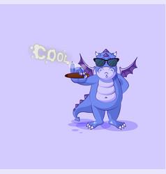 Dragon sticker emoticon sunglasses smoking cigar vector