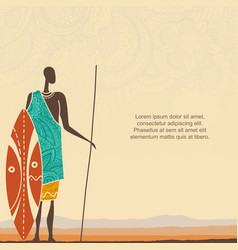 Ethnic background with african man warrior vector