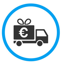 Euro gift delivery rounded icon vector