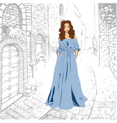 Fashionable romantic girl in blue maxi dress vector