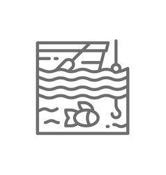 fishing on boat line icon vector image