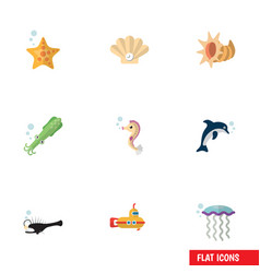 Flat icon nature set periscope octopus conch vector