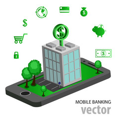 flat isometric mobile banking vector image