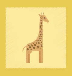 Flat shading style icon cartoon giraffe vector