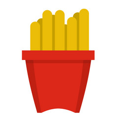 French fries in a red box icon isolated vector