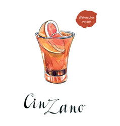 Glass of cinzano with red orange vector